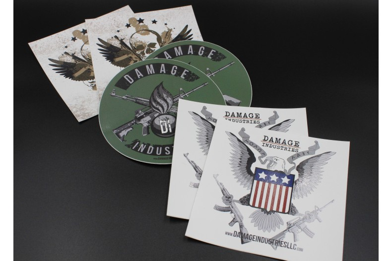 6-Pack Assorted Vinyl Damage Industries Indoor/Outdoor Stickers
