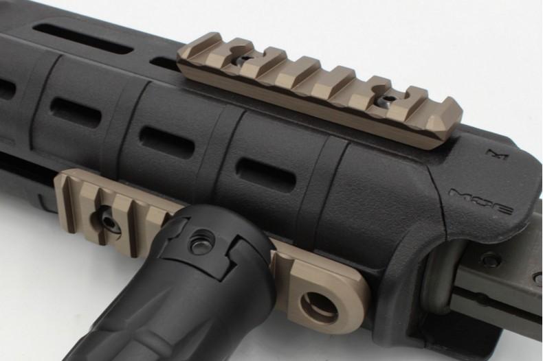 1913 7 Slot Add-On Accessory Rail W/QD Socket, MLOK Compatible, FDE or Black